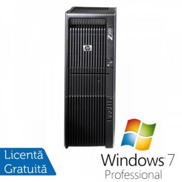 Statie Grafica HP Z600, 2x Intel Xeon Six Core E5645 2.40Ghz 12Mb Cache, 32Gb DDR3 ECC, 1TB HDD + 120GB SSD, DVD-ROM, NVIDIA QUADRO 600 1GB 128bit + Windows 7 Professional Calculatoare Refurbished