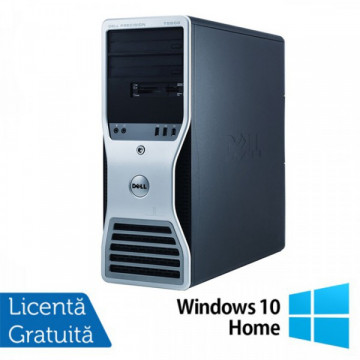 Statie grafica Refurbished Dell Precision T7500 Tower, 2x Intel Xeon X5660 HEXA CORE 2.8GHz - 3.2GHz, 12GB Ram DDR3, HDD 500GB SATA , DVD-RW, placa video Nvidia Quadro NVS300 512MB GDDR3 + Windows 10 Home Calculatoare Refurbished