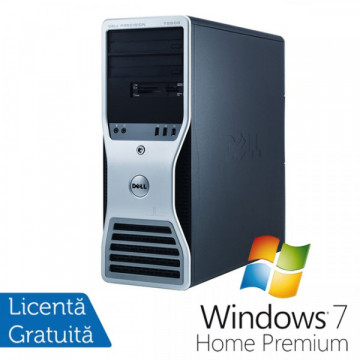 Statie grafica Refurbished Dell Precision T7500 Tower, 2x Intel Xeon X5660 HEXA CORE 2.8GHz - 3.2GHz, 48GB Ram DDR3, 2x HDD 2TB SATA , DVD-RW, placa video Nvidia Quadro NVS300 512MB GDDR3 + Windows 7 Home Premium Calculatoare Refurbished