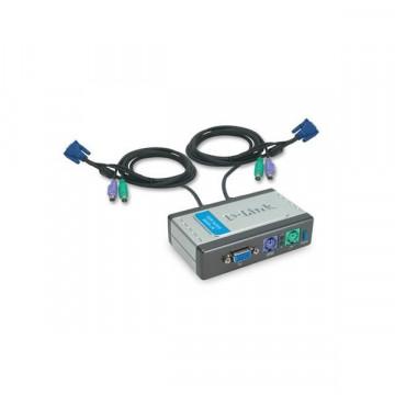 Switch KVM D-Link DKVM-2K, 2 Calculatoare, tastatura, mouse, VGA Retelistica