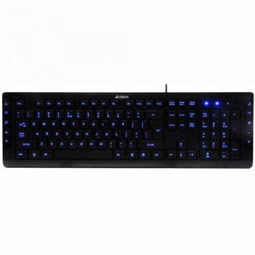 Tastatura Iluminata A4Tech KD-600L, USB, SUA, Iluminata (Albastru) Periferice