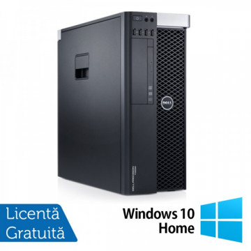 Workstation DELL Precision T3600 Intel Xeon Hexa Core E5-1650 3.20GHz-3.80 GHz, 24 GB DDR3 ECC, 2 TB HDD SATA + 120GB SSD, Nvidia Quadro 2000/1GB/GDDR5/128biti + Windows 10 Home Calculatoare Refurbished