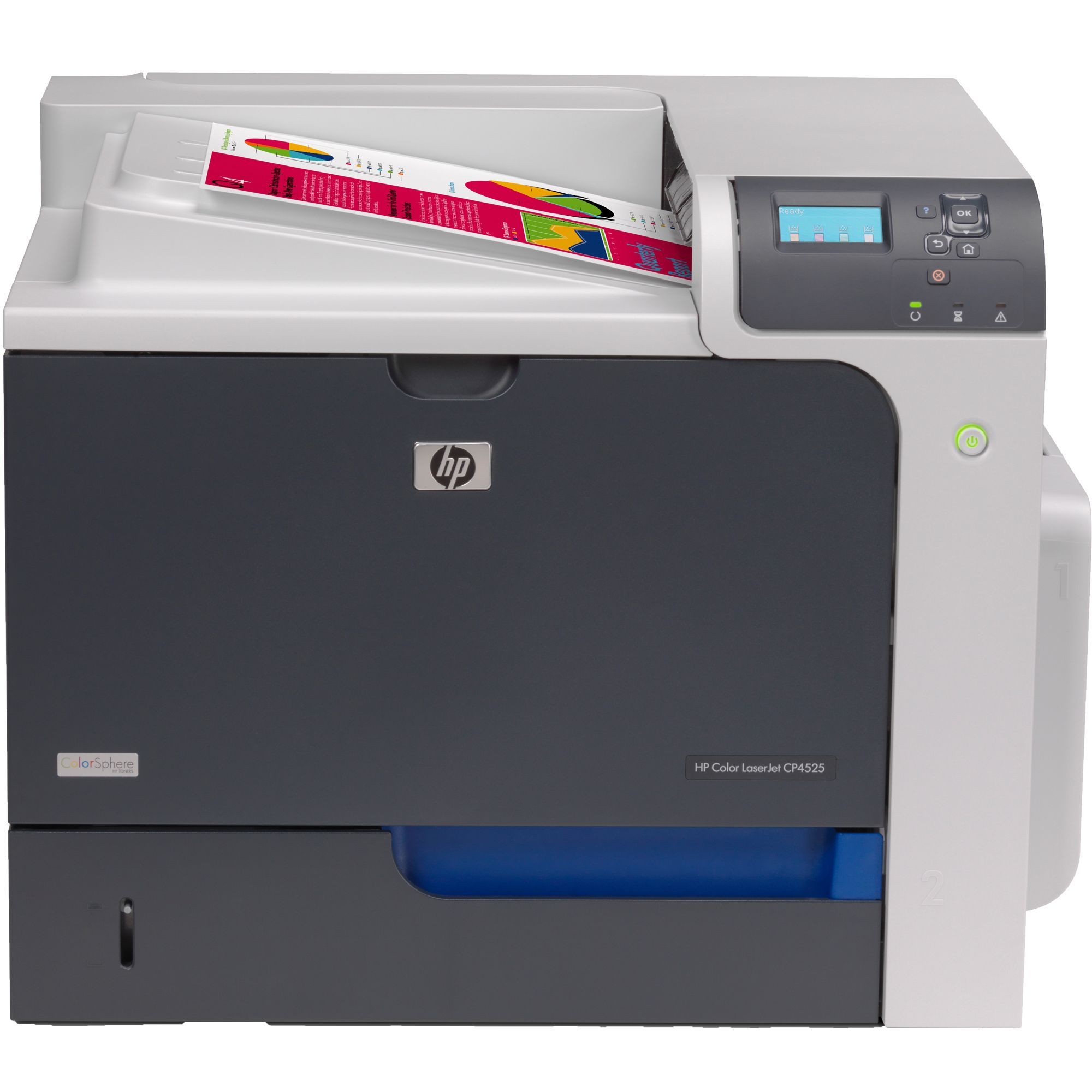 imprimanta laser color hp cp4525dn, duplex, retea, usb, 42 ppm, toner low
