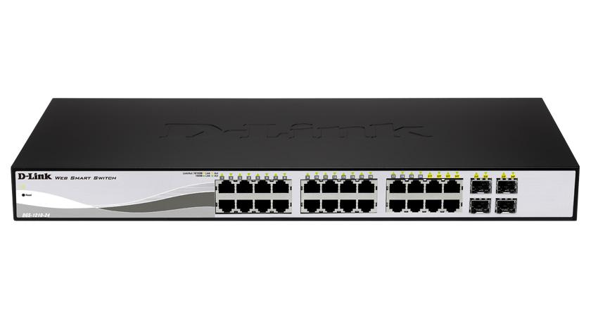 Switch D-Link Web Smart DGS-1210-24, 24 x 10/100/1000 + 4 Combo SFP