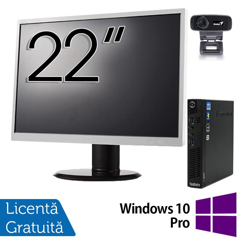 Pachet Calculator Lenovo ThinkCentre M92p Mini PC, Intel Core i5-3470T 2.90GHz, 8GB DDR3, 120GB SSD + Monitor 22 Inch + Webcam + Tastatura si Mouse + Windows 10 Pro