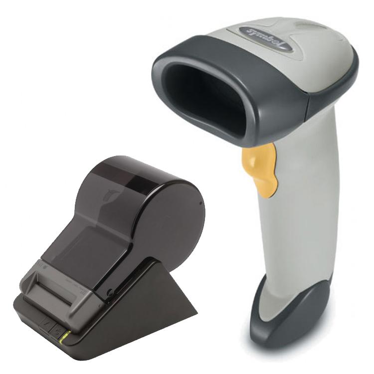 Pachet Cititor Coduri De Bare Motorola Symbol Ls2208, Alb, Refurbished Grad A+, Cablu Usb + Imprimanta Termica Seiko Slp650, Usb, 100mm Pe Secunda