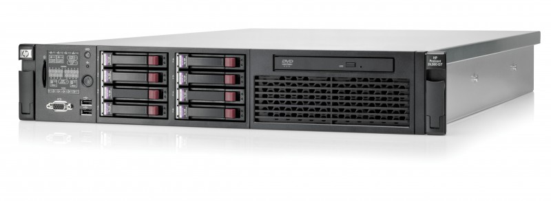 hp proliant dl380 g7, 1x intel xeon quad core e5640 2.66ghz, 32gb ddr3 ecc, 2x 450gb sas, raid p410i, 1x surse, dvd-rom
